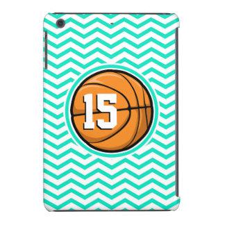 Baloncesto; Aguamarina Chevron verde Fundas De iPad Mini