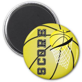 Baloncesto amarillo imán redondo 5 cm