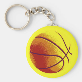 Baloncesto amarillo-naranja del arte pop llavero redondo tipo pin