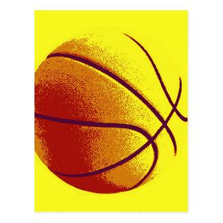 Baloncesto amarillo-naranja del arte pop tarjetas postales