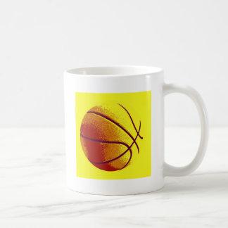 Baloncesto amarillo-naranja del arte pop tazas de café