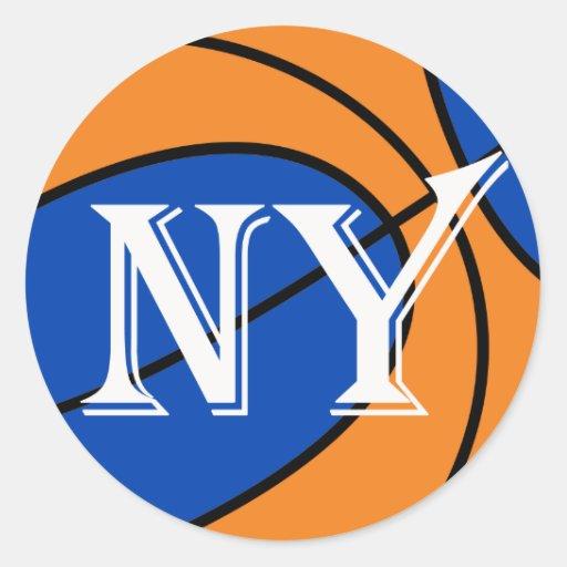 baloncesto anaranjado azul de Nueva York Pegatina Redonda