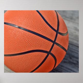 Baloncesto anaranjado colorido póster