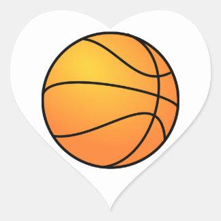 Baloncesto anaranjado calcomanías corazones personalizadas