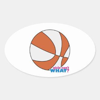Baloncesto anaranjado pegatina óval personalizadas