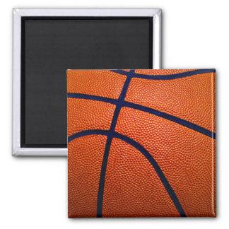 Baloncesto anaranjado y negro imán cuadrado