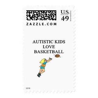 baloncesto autístico del amor de los niños sello