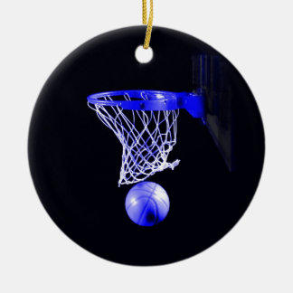 Baloncesto azul adorno redondo de cerámica