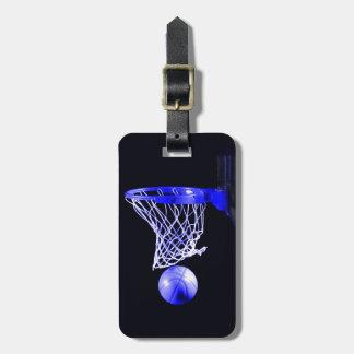 Baloncesto azul etiqueta de maleta