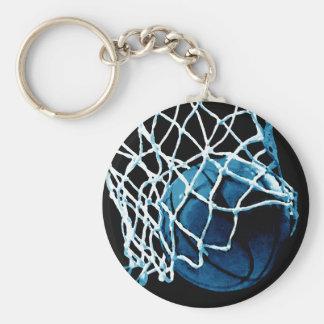 Baloncesto azul llavero redondo tipo pin