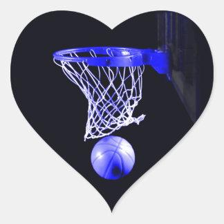 Baloncesto azul calcomanía de corazón