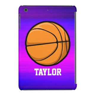 Baloncesto; Azul violeta y magenta vibrantes Fundas De iPad Mini Retina