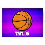 Baloncesto; Azul violeta y magenta vibrantes Tarjeta Pequeña