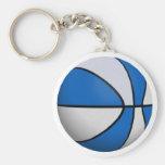 Baloncesto azul y blanco: llavero personalizado