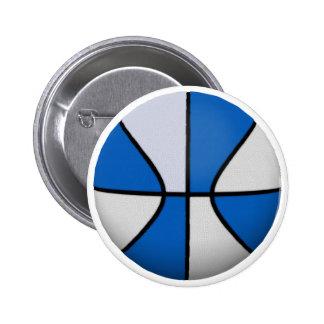 Baloncesto azul y blanco: pin redondo de 2 pulgadas
