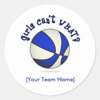 Baloncesto - blanco/azul etiqueta redonda