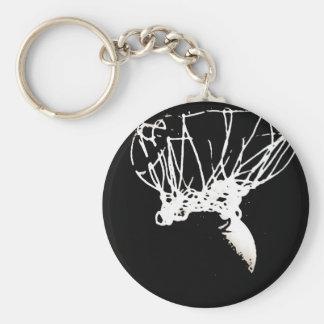 Baloncesto blanco negro del arte pop llavero redondo tipo pin