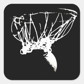 Baloncesto blanco negro del arte pop pegatina cuadrada