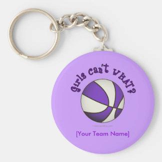 Baloncesto - blanco púrpura llaveros