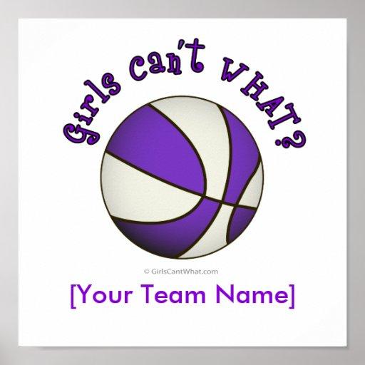 Baloncesto - blanco/púrpura póster