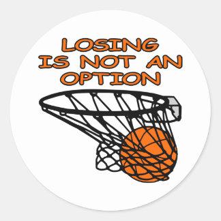 Baloncesto blanco que pierde no la opción etiquetas redondas