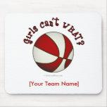 Baloncesto - blanco/rojo tapetes de ratón
