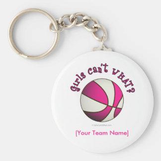 Baloncesto - blanco rosa llavero