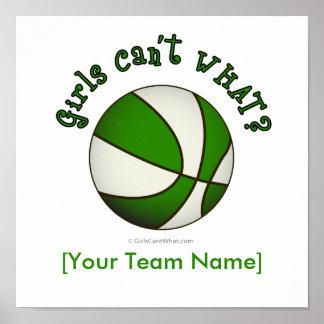 Baloncesto - blanco verde poster