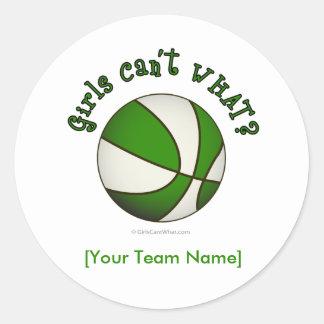 Baloncesto - blanco/verde pegatina redonda