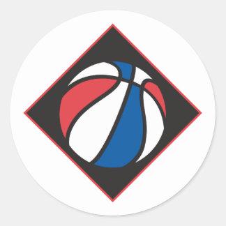 baloncesto blanco y azul rojo pegatina redonda