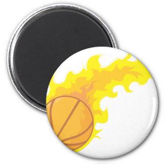 Baloncesto caliente llameante imán redondo 5 cm