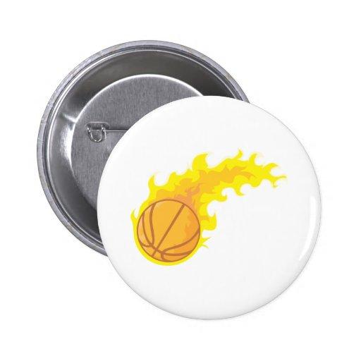 Baloncesto caliente llameante pin redondo 5 cm