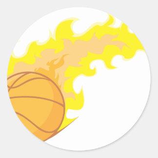 Baloncesto caliente pegatina redonda