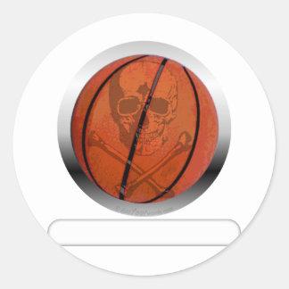 Baloncesto con el cráneo personalizado pegatina redonda