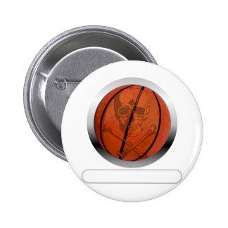 Baloncesto con el cráneo personalizado pin redondo de 2 pulgadas