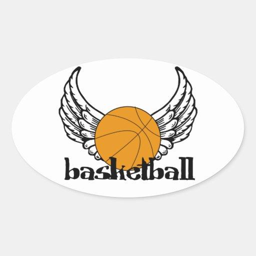 Baloncesto con las alas calcomanía de óval personalizadas