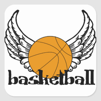 Baloncesto con las alas pegatina cuadrada