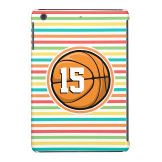 Baloncesto con número; Rayas brillantes del arco Funda De iPad Mini