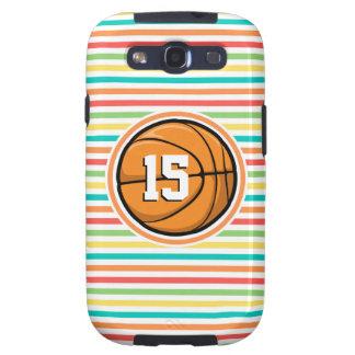 Baloncesto con número; Rayas brillantes del arco Samsung Galaxy S3 Fundas