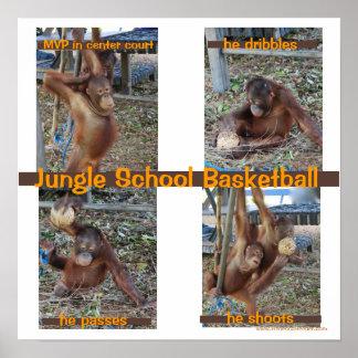 Baloncesto de la escuela de la selva poster
