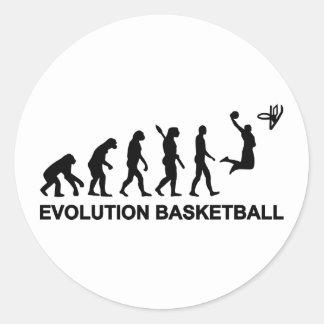 Baloncesto de la evolución etiquetas redondas
