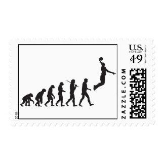 Baloncesto de la evolución sellos postales