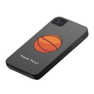 Baloncesto de la mirada de la fibra de carbono iPhone 4 Case-Mate coberturas