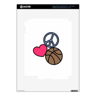 Baloncesto de la paz del amor iPad 3 pegatinas skins