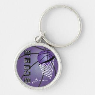 Baloncesto de la púrpura de Personailize Llavero Redondo Plateado