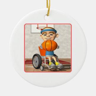 Baloncesto de la silla de rueda adorno redondo de cerámica