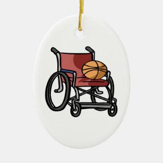 Baloncesto de la silla de rueda adorno ovalado de cerámica