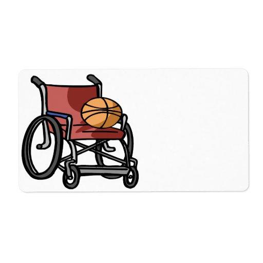Baloncesto de la silla de rueda etiquetas de envío