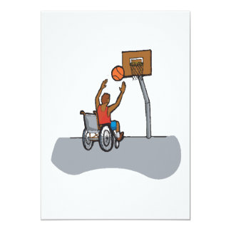 Baloncesto de la silla de rueda invitación 12,7 x 17,8 cm
