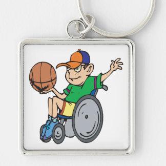 Baloncesto de la silla de rueda llavero cuadrado plateado